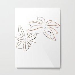 Simple Star Anise Metal Print