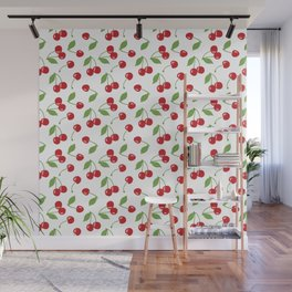 Red cherries and white background Wall Mural