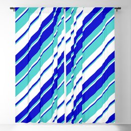 Turquoise, White, and Blue Colored Striped/Lined Pattern Blackout Curtain