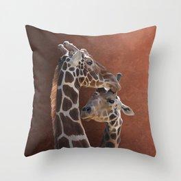 Endearing Giraffes Throw Pillow