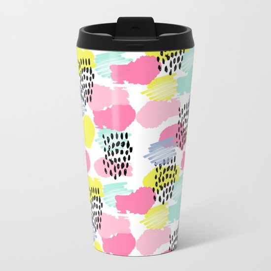 Bright happy painted pattern nursery baby gifts black and white spring summer home decor Metal Travel Mug