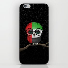 Baby Owl with Glasses and UAE Flag iPhone Skin