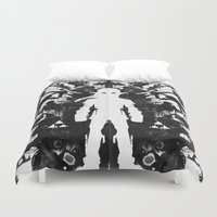 psychology Duvet Covers featuring Ink Blot Link Kleptomania Geek Disorders Series by Barrett Biggers