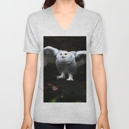 Snowy Owl With Open Wings Unisex V-Neck