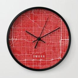 Omaha Map, USA - Red Wall Clock