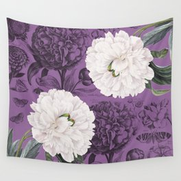White Peony Purple Collage Wall Tapestry