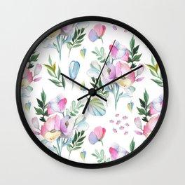 Flower pattern: watercolor Wall Clock