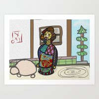 Abstract Geisha Art Print
