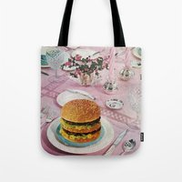 burger Tote Bags featuring BURGER by Beth Hoeckel