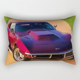 1969 427 Stingray Vette Big Block in Candy Apple Red Rectangular Pillow