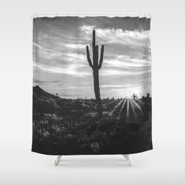 Saguaro Sunrise // Black and White Arizona Desert Landscape Photography Cactus Sun Rays Shower Curtain