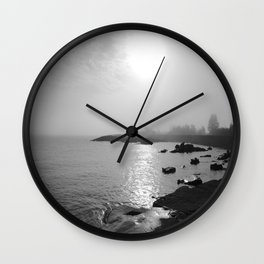 Foggy Harbor North Shore 3 BW Wall Clock