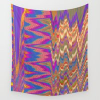glitch Wall Tapestries featuring Chevron Glitch by Nina May Designs
