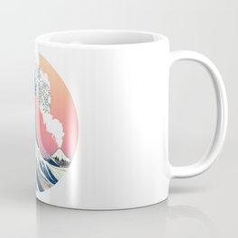 Great Wave Off Kanagawa Mount Fuji Eruption with Gradient  Coffee Mug
