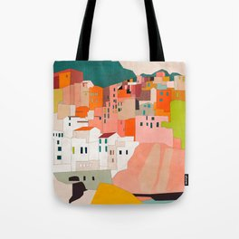 italy coast houses minimal abstract painting Tote Bag