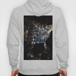 North America and the United States aerial view from outer space at night Hoody
