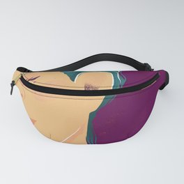 Emerald Pixie Hair - Beautiful Freckles - Purple Background Fanny Pack