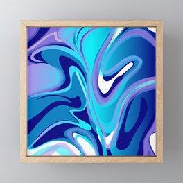 Liquify in Turquoise, Lavender, Purple, Navy Framed Mini Art Print