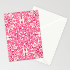 Hot Pink & Soft Cream Folk Art Pattern Stationery Cards