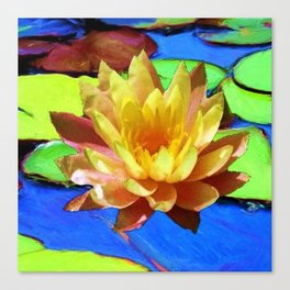 YELLOW WATER LILIES POND GREEN LILY PADS Canvas Print