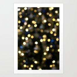 White Blue and Green Christmas Bokeh Art Print