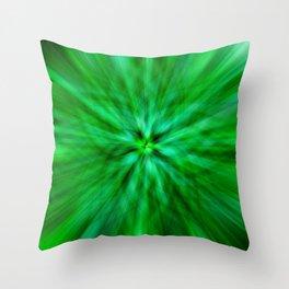 Green Star Flower Glow Throw Pillow