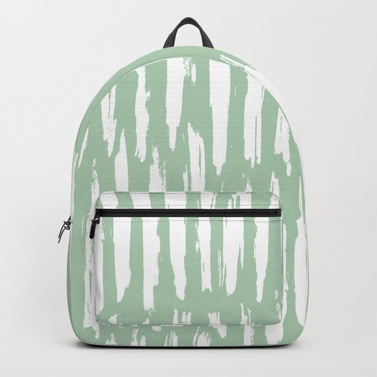 Vertical Dash Stripes White on Pastel Cactus Green Backpack