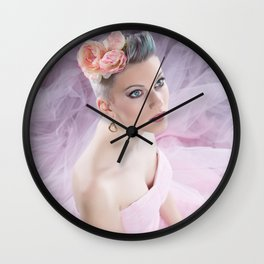 Rose in pink Wall Clock