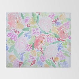 Watercolor Botanical Throw Blanket