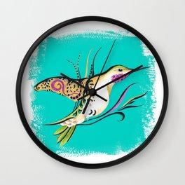 Hummingbird Ink Romantic Teal Wall Clock
