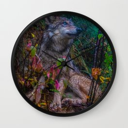Wolf Pup in the Forest Wall Clock