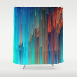 All About Us - Abstract Glitch Pixel Art Shower Curtain