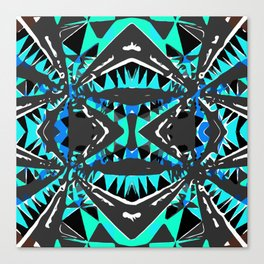 psychedelic geometric abstract pattern background in blue green black Canvas Print