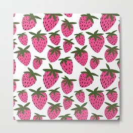 Pink Strawberries Metal Print