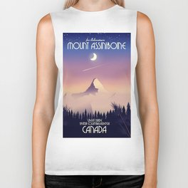 Mount Assiniboine Canada travel poster Biker Tank