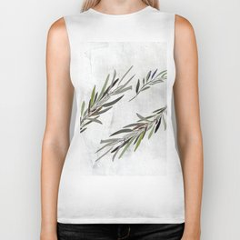 Eucalyptus Leaves White Biker Tank