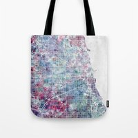 chicago map Tote Bags featuring Chicago map by MapMapMaps.Watercolors