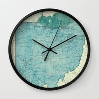 ohio state Wall Clocks featuring Ohio State Map Blue Vintage by City Art Posters