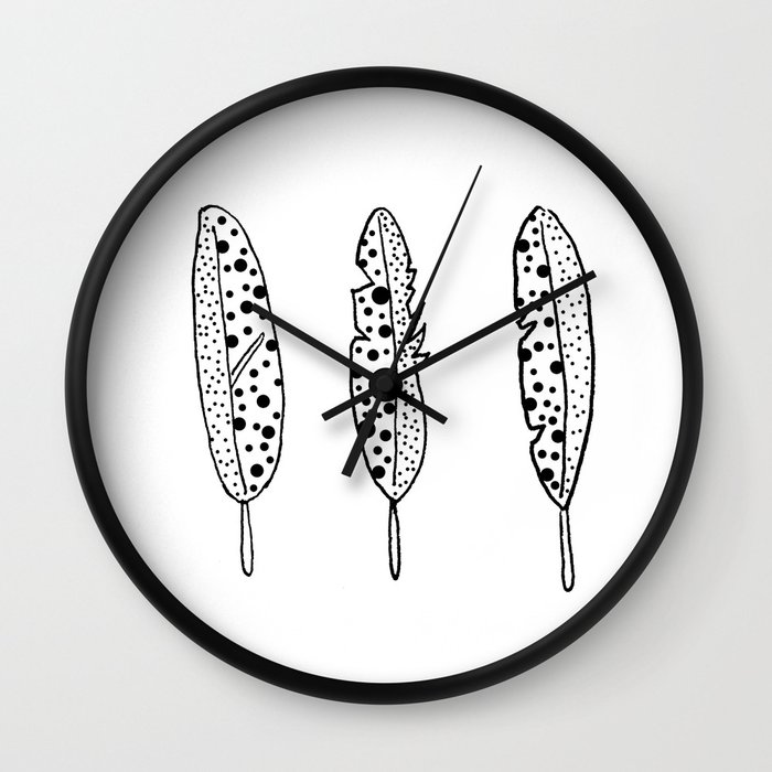 Black and White Spotted Feathers by Emma Freeman Designs Wall Clock