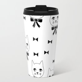 Cute Cats bow ties black and white kittens cat art pattern design by andrea lauren Travel Mug