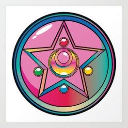 Magical Moon Neon Compact Art Print