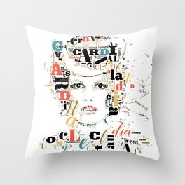 Typographic image Claudia Cardinale once upon a time in the west color 2 Throw Pillow