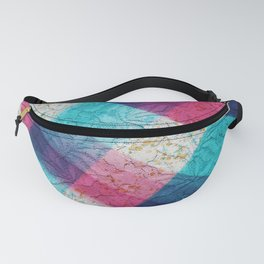 Artsy geometrical teal pink black watercolor lace Fanny Pack
