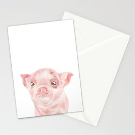 Pig | Animals | Watercolour | Art | Painting | Nature | Farm Piglet | Peek-a-boo Stationery Cards