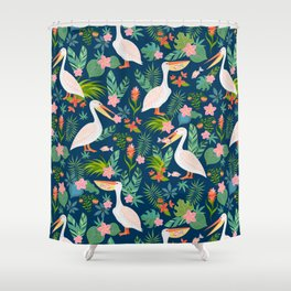 Floral Pelican Shower Curtain