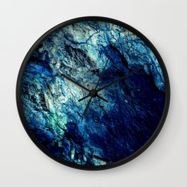 Mineral Texture Dark Teal Ocean Blue Wall Clock