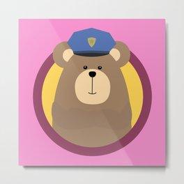 Police Officer Brown Bear in cirlce Metal Print
