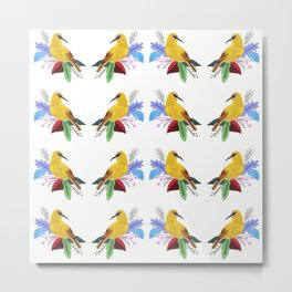 Yellow bird pattern Metal Print