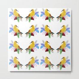 Yellow bird pattern Metal Print