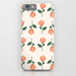 Pink Peony Pattern iPhone Case